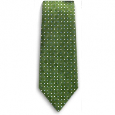 Bocara Green - Blue - White silk neck tie