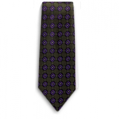 Bocara  Green - Purple silk neck tie