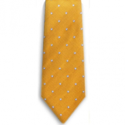 Bocara Yellow - Blue - White silk neck tie