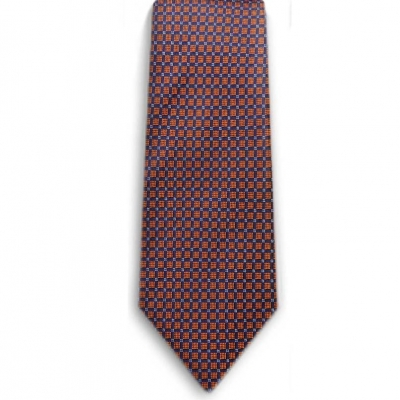 Bocara  Orange - Navy - White silk neck tie