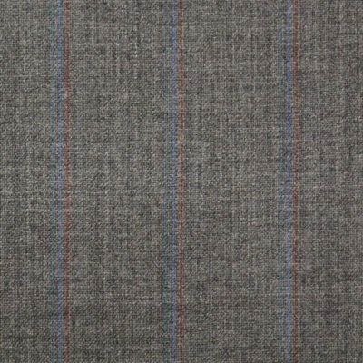 Grey Suit with green, blue, red stripes, All Wool Suiting by Horesh