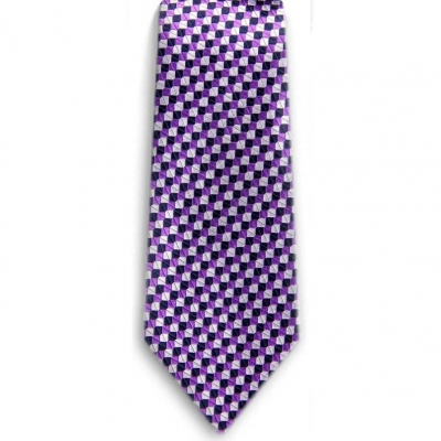 Bocara Purple - Navy - Silver silk neck tie