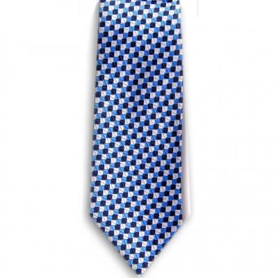 Bocara Blue - Navy - Silver silk neck tie