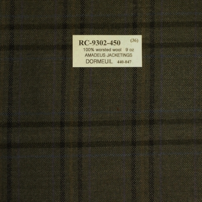 Dormeuil Jacket - Green with Check, 100% Worsted Wool, 255 gm/m