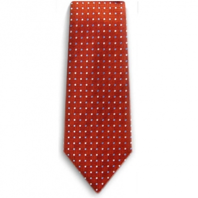 Bocara  Orange - Blue - White silk neck tie