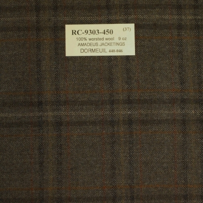 Dormeuil Jacket - Brown Check, 100% Worsted Wool, 255 gm/m
