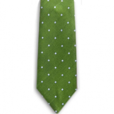 Bocara  Green - Blue - White silk neck tie