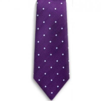 Bocara Purple - Blue - White silk neck tie