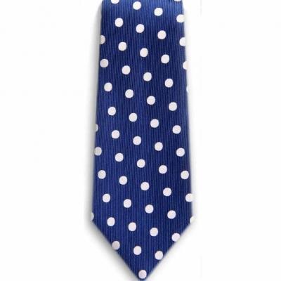 Bocara  Blue - White silk EXTRA LONG Neck Tie