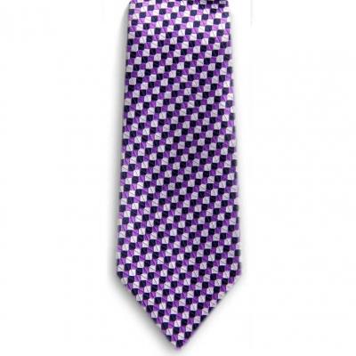 Bocara Purple - Navy - Silver silk neck tie