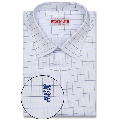 Real Cloth shirt Blue with blue Check REG. PRICE $149 SALE PRICE $129