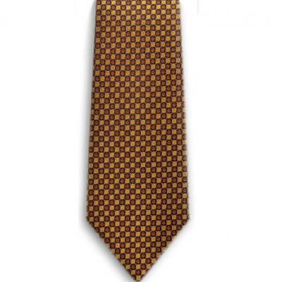 Bocara  Yellow - Orange - Blue silk neck tie