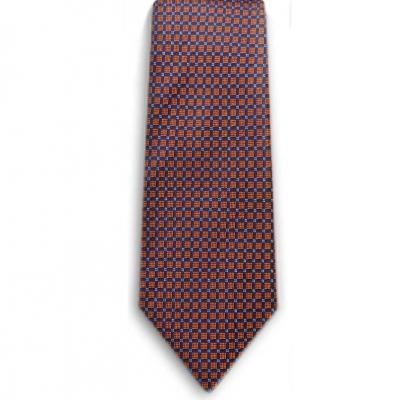 Bocara  Orange - Navy - White silk neck tie