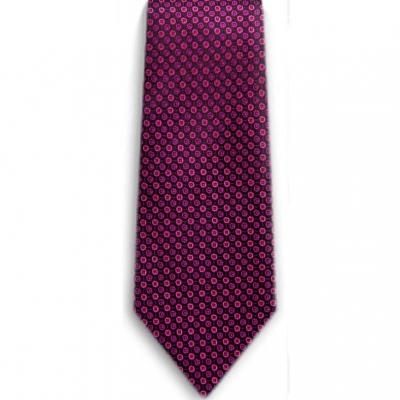 Bocara  Pink - Black silk neck tie